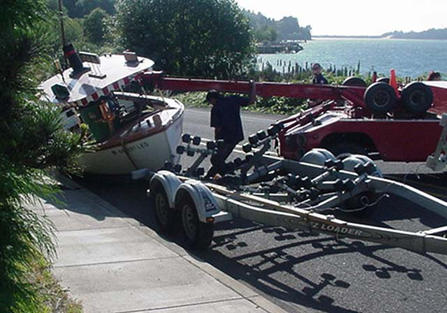 boat off trailer